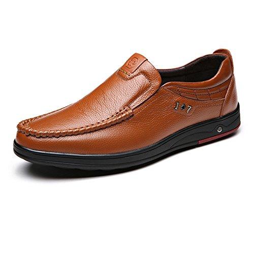 Yaojiaju Männer Müßiggänger-Schuhe, Echtes Rindsleder-oberes treibendes Auto-Weiche Ebenen Beleg-auf Müßiggängern für Männer (Color : Braun, Größe : 39 EU)