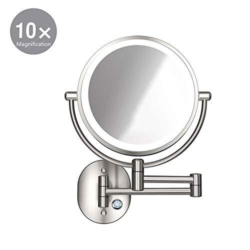 XNDCYX Espejo De Aumento 10X De Pared, Espejo De Baño Giratorio Espejo De Maquillaje con Luz LED Espejo...