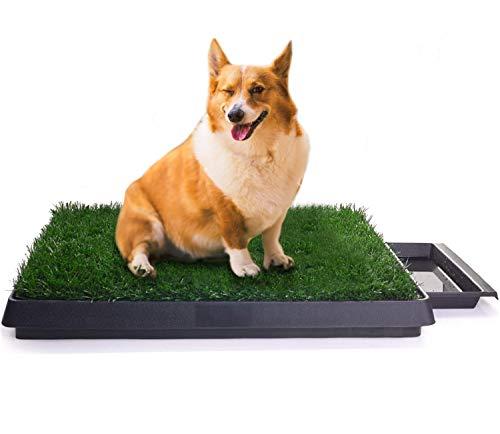 Sailnovo Hundeklo Hunde Toilette Kunstrasen Gras Welpentoilette Trainingsunterlage für Kleine Hunde Grosse Hunde ältere Hunde Tier WC Indoor 63 x 50x 7(L x B x H) cm (2)