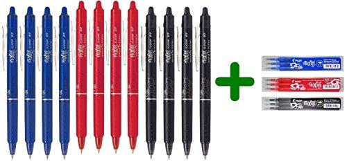 Pilot Frixion Clicker 0.7mm - Set di penne a sfera cancellabili (4 blu, 4 rosse, 4 nere) + Set di refill conf. da 3 (1 blu, 1 rosso, 1 nero)