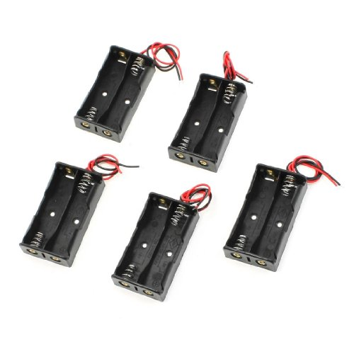 5 Pcs 2 x 1.5V AA Battery Holder Storage Case Black Box w Wire Leads