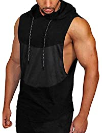72178a725a95 MCYs Men s Sports Fitness mesh Stitching Sleeveless Vest top Men s Gyms  Fitness Muscle Mesh Hoodie Sleeveless
