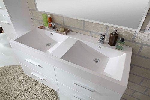 SAM® Badmöbel-Set 3-tlg, Hilo, hochglanz weiß, Softclose Badezimmermöbel, Badezimmermöbel, Doppelwaschplatz 120 cm Mineralgussbecken, Spiegel, Hochschrank - 8
