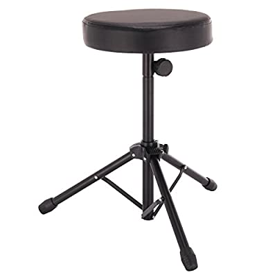 AllRight Black Folding Drum Stool Double Padded Seat Music Guitar Keyboard Throne Piano Chair produced by OEM - quick delivery from UK.