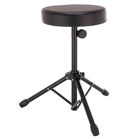 AllRight Black Folding Drum Stool Double Padded Seat Music Guitar