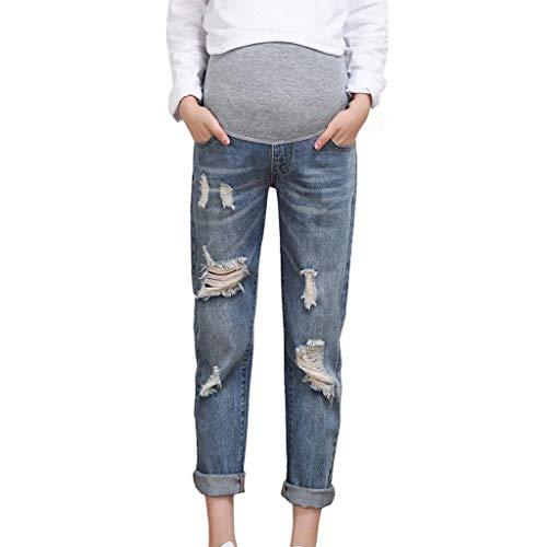 Vicgrey ❤ pantaloni premaman, maternità elastico jeans donne incinta regolabile pantaloni, jeans premaman basico, super elastico e comodo - pantaloni premaman