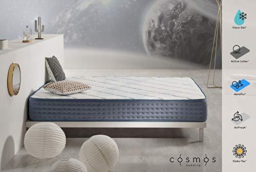 COSMOS Matelas Gel Care - Mémoire de Forme Visco Gel - Mousse HR Active Latex - 24 cm - 140 x 200 cm
