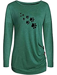 TOPSELD Mode 2022 Damen Oansatz Appliques Langarm Lose Tops T-Shirt Bluse  (Medium, 327fc799b3