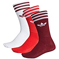 adidas Solid Crew Sock - Calcetines, Unisex Adulto, Rojo(Buruni/ROJUNI/Blanco)
