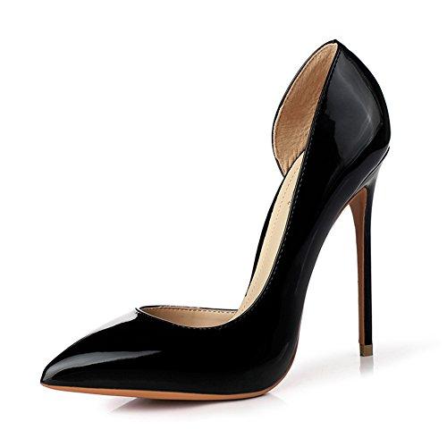 YIXINY Escarpin M212 Chaussures Femme PU+Caoutchouc Side Vide Pointu La Bouche Peu Profonde Amende Talon 12cm Talons Hauts Noir, Rouge