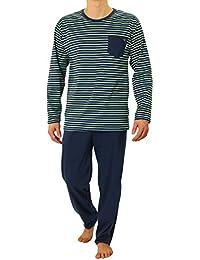 Sesto Senso Pijama Hombre Largo Inverno Clásico Algodon 2 Piezas Ropa De Dormir Conjunto Camisa Manga Larga Pantalones Largos