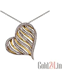 Lurie Jewellery Gold Pendant With Chain With Diamonds - B076Q6W7BL