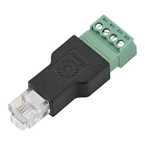 762291cf70bfe Fosa Ethernet RJ11 6P4C zu Schraubklemme 4 Pin Splitter mit Shield Terminal  Stecker CCTV Adapter Stecker