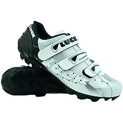 Zapatillas de Ciclismo Luck Extreme 3.0 MTB,con Suela de Carbono y Triple Tira de Velcro de Sujeción ademas de Puntera de Refuerzo. (45 EU, Blanco)