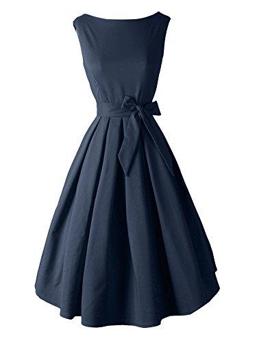 LUOUSE Damen 50s Retro vintage Bubble Skirt Rockabilly Swing Evening Kleid,NavyBlue,XS