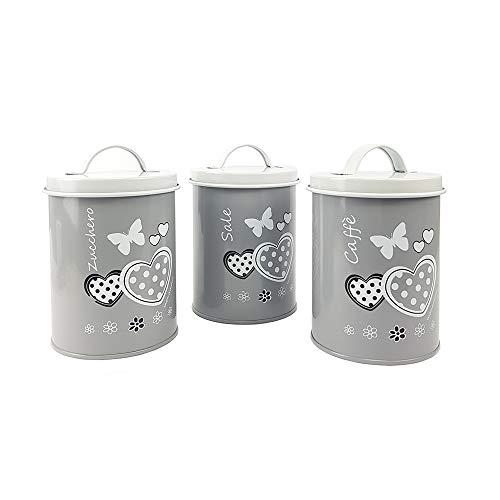 BuyStar Tris Barattoli da Cucina Latta Vintage con Decorazione Cuori Sale Zucchero caffè 3 Colori 15 Cm