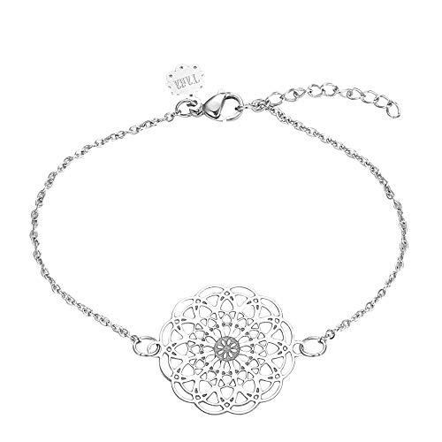 Tara Armband Mandala Edelstahl Yoga Yogaschmuck in den Farben Silber, Gold und Rose Farbe Silber