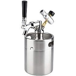 Tireuse à Bière, 2L Mini Fût de Bière avec Robinet en Acier Inoxydable Système de Distribution de Bière pour Fête