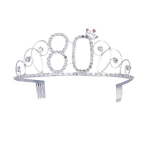 rtstag Tiara 80th Birthday Crown Prinzessin Diamante Kronen mit Haarkämme, Silber ()