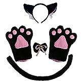 BOMPOW Katze Ohr Stirnband Cosplay Katze Schwanz Glocke Haarspange mit Pfote Fliege Kost Party Dekoration 6 Pack (Schwarze Katze Kost me)