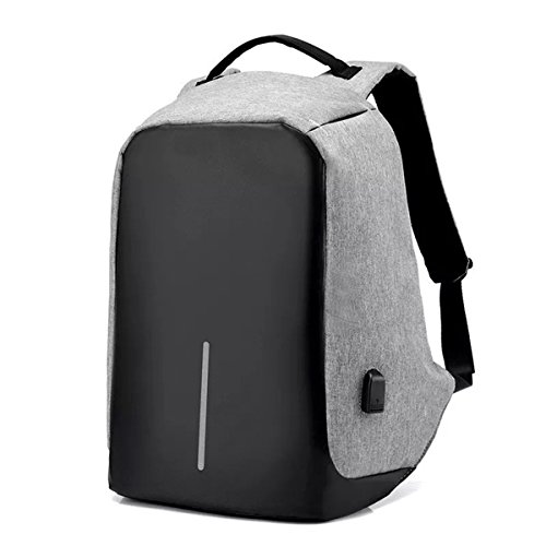 BlueLife Anti-Theft Canvas 15.6-inch Laptop Backpack with USB Charging