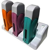 Epilwax S.A.S. - Calentador de cera depilatoria triple, inalámbrico (con base de carga, roll-on de 100ml, para cera desechable)