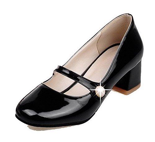 VogueZone009 Femme Couleur Unie Verni Noir Correct Légeres Tire Rond à Talon Chaussures RFWRdrwq