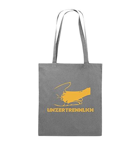 Comedy Bags - UNZERTRENNLICH - HAND PFOTE Hundeliebe - Jutebeutel - lange Henkel - 38x42cm - Farbe: Schwarz / Silber Dunkelgrau / Gelb