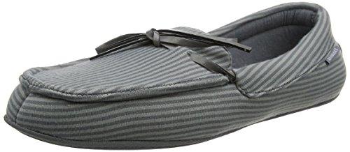 Isotoner Mens Stripe Moccasin Slipper, Chaussons Bas Homme Gris (Gris)