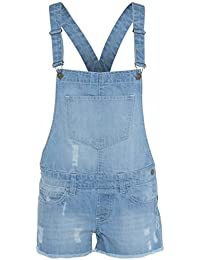 Womens étirer la lumière WASH DENIM court Dungaree Playsuit dungaree Dress Jumpsuit (EU 44)