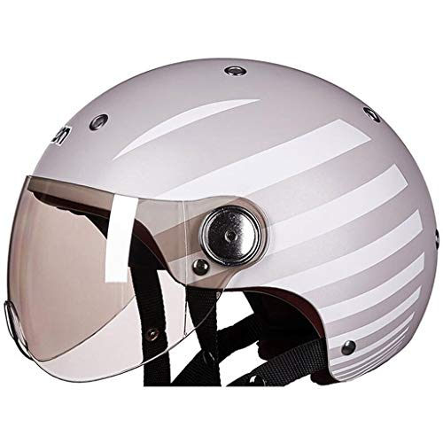 Serie Medium 1 Licht (GXQ Motorradhelm Männer Und Frauen Vier Jahreszeiten Halben Helm Bedeckt Elektromotor Auto Helm Nette Licht Sommer Sonnencreme (Color : B, Size : M))