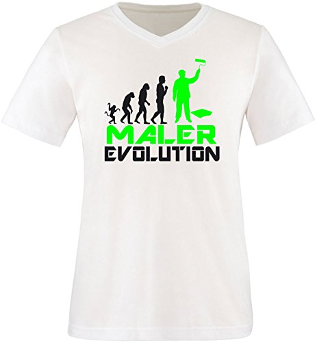EZYshirt® Maler Evolution Herren V-Neck T-Shirt Weiss/Schwarz/Neongr