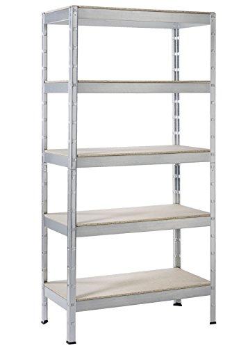 Regal Schwerlast Steck Regal Metall verzinkt 180x90x45cm Traglast 875kg 5 Holz Böden Schulte
