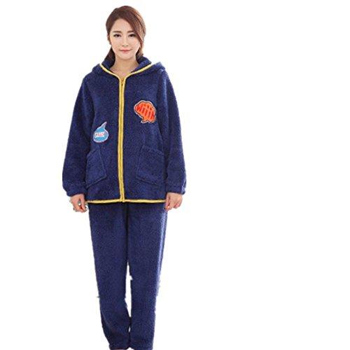 LIUDOU Épaississement flanelle pyjama Zipper Cardigan capuche