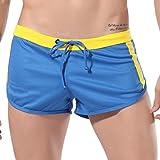 Pantalones Cortos para Hombre Costura Rayas Deportivos Fitness Correr Cómodo Transpirables Home Pants Cortos de Verano Ocio Diario Cintura elástico con cordón MMUJERY