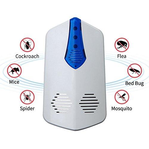 ROKOO Mäuse- und Insektenfalle, Insektenabwehr, Ultraschall, elektronisch, Mäusefalle, Insektenfalle gegen Mücken, Ratten