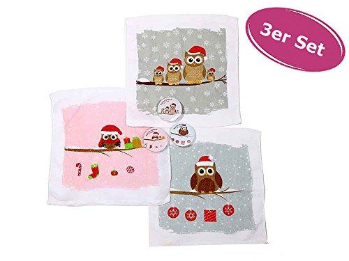 3er Set Magisches Handtuch - Weihnachts Eulen Motiv - Adventskalenderfüllung, Wichtelgeschenk