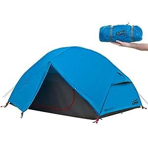 Qeedo Light Birch 2 Personen Trekking-Zelt leicht und kleines Packmaß mit Protector - blau