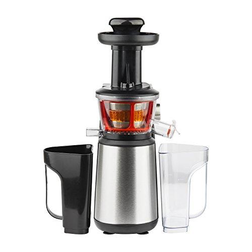 H.Koenig GSX 12 Licuadora para Frutas y Verduras de Prensado en Frío, Extractor de Jugos, 1 Litro, 60 RPM, 400 W, Libre de BPA, Acero Inoxidable, Gris GSX12