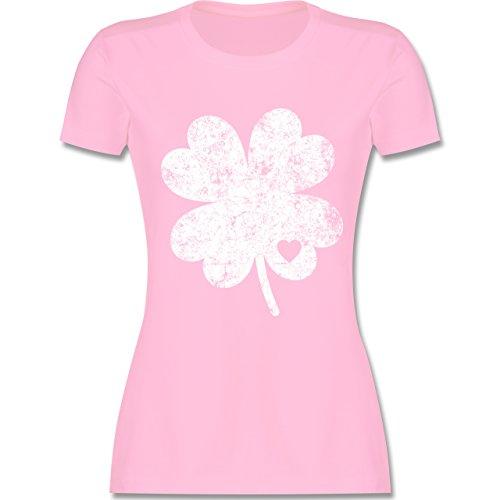 St. Patricks Day - Vintage Kleeblatt mit Herz - M - Rosa - L191 - Damen Tshirt und Frauen T-Shirt -
