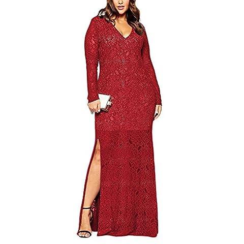 Femmes de grande taille mode élégante robe en dentelle robe de soirée longue , red , 5xl