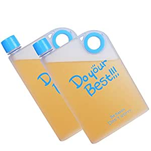 HOKIPO Plastic Water Bottle, 380ml, Set of 2, Blue