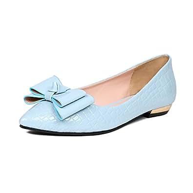 BalaMasa Girls Spun Gold Bowknot Low-Cut Uppers Stone Pattern Blue Patent Leather Pumps-Shoes - 5.5 UK