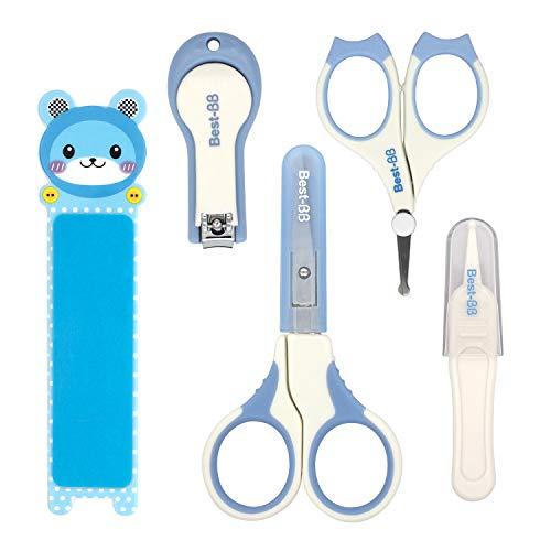 HOMEWINS 5-teiliges Baby Nagelpflege Set mit 2 Baby Nagelschere, Nagelknipser, Nagelfeile, Pinzette, Sicherheit Pflegeset für Babys Kinder (Blau)