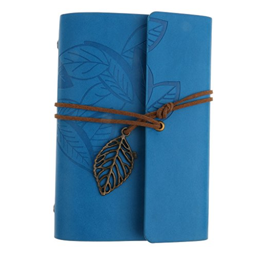 Generic Creative Vintage PU Leather Travel Notebook Jornal Blank Notepad String Loose Leaf Charm Diary - deep blue