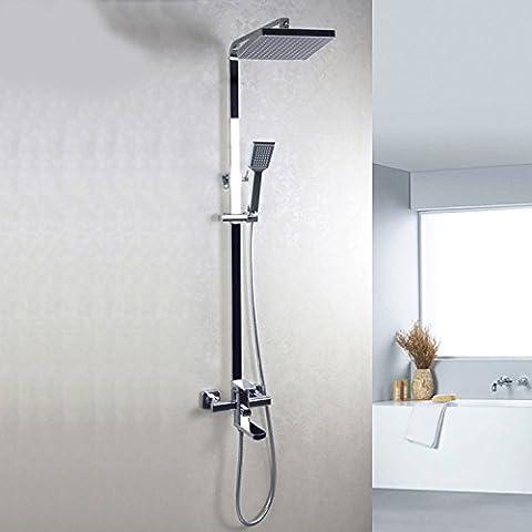 YanCui@ Rubinetti per doccia Gruppo quadrato ascensore rame placcatura doccia parete doccia rubinetto