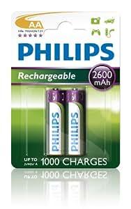 Philips R6B2A260 Batterie rechargeable pour Appareil photo 2600mAh AA 2 pièces