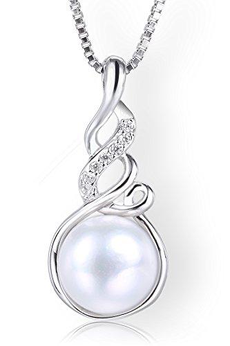 Startreasureland Collana con ciondolo in argento Sterling 925 8 mm, con perle d'acqua dolce bianche