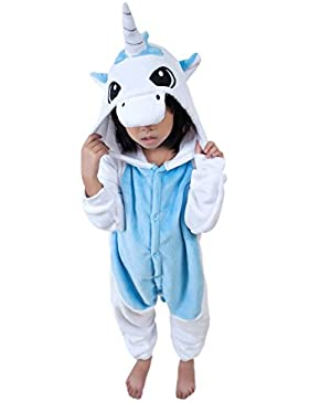 DarkCom Kinder Kigurumi Strampelanzug Pyjamas Tier Cosplay Kostüme Cartoon Jumpsuit Nachtwäsche-Unicorn