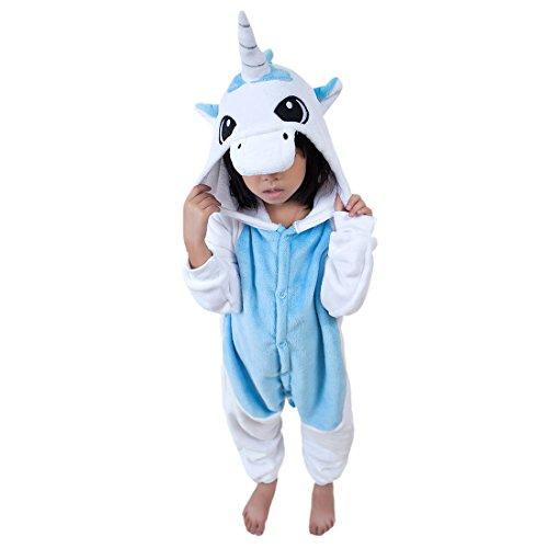 DarkCom Kinder Kigurumi Strampelanzug Pyjamas Tier Cosplay Kostüme Cartoon Jumpsuit Nachtwäsche Blaue Einhorn